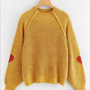 Mockneck, yellow sweater with heart elbow patches